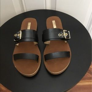 Aldo Black Leather 2-Strap Sandals